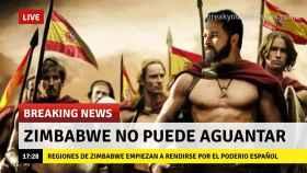 Meme de la guerra virtual entre España y Zimbabue por el dominio del mundo