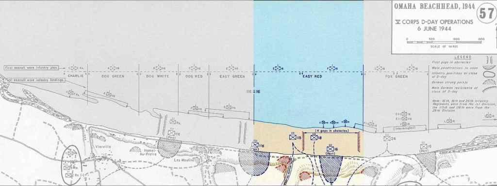 Mapa de Omaha Beach, con el sector Easy Red, donde desembarcó Otero, destacado.