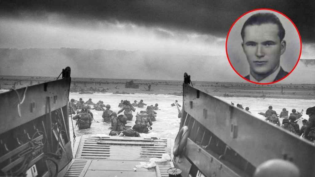 Soldados de la Big Red One en Omaha Beach a las 7:40 horas; y un retrato de Manuel Otero.