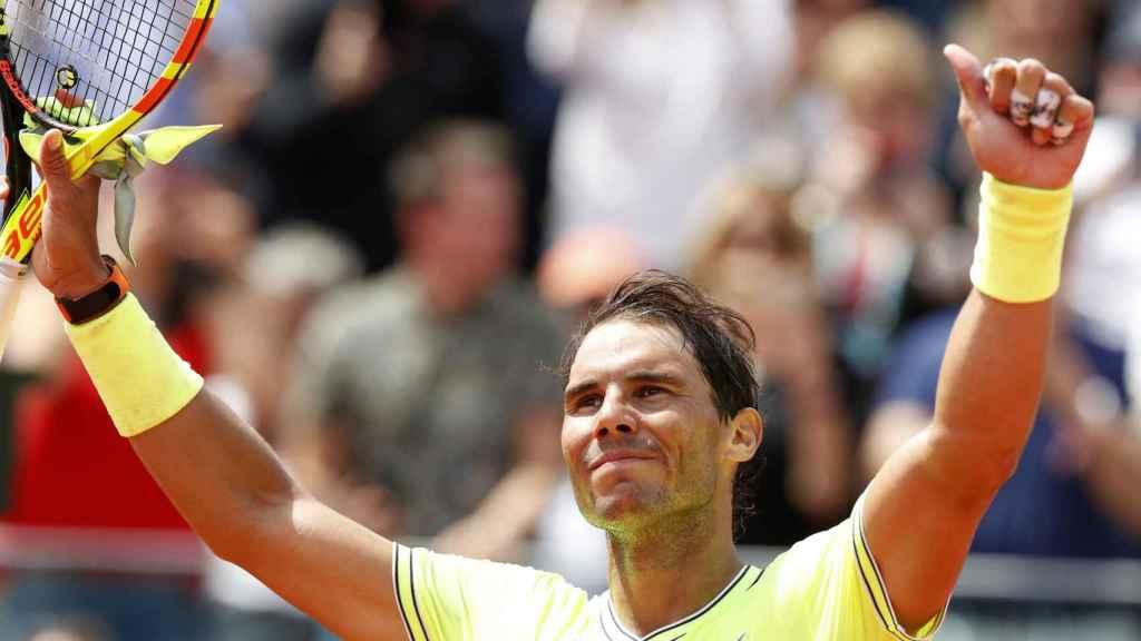 Nadal, celebrando su pase a los octavos de final de Roland Garros.