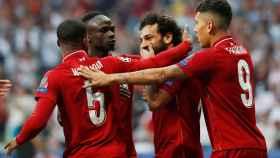 Los jugadores del Liverpool celebran el gol de Salah en la final de la Champions League 2018/2019