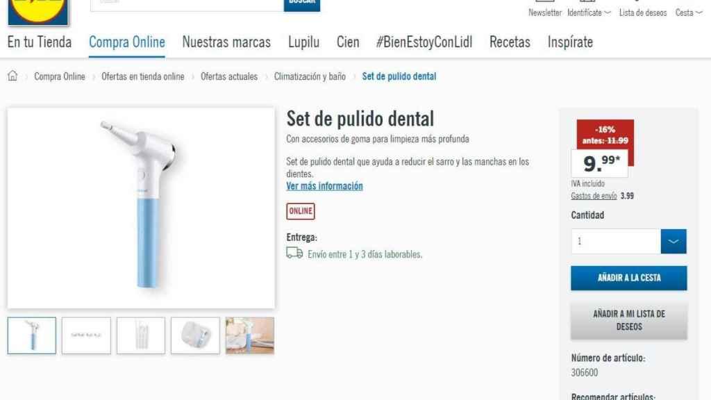 Anuncio del set de pulido dental en la web de Lidl