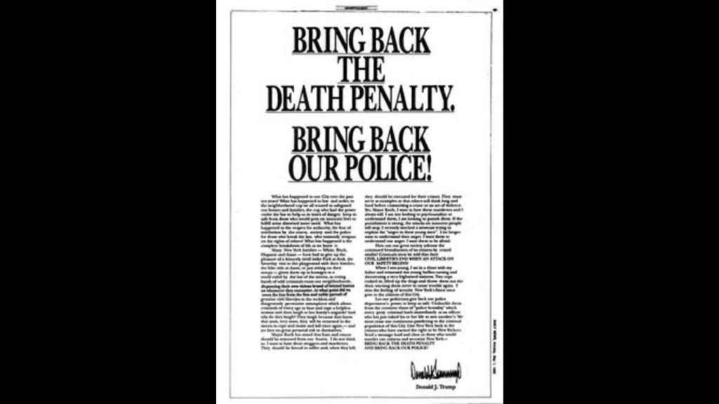 La publicación de Trump en los periódicos de 1989.