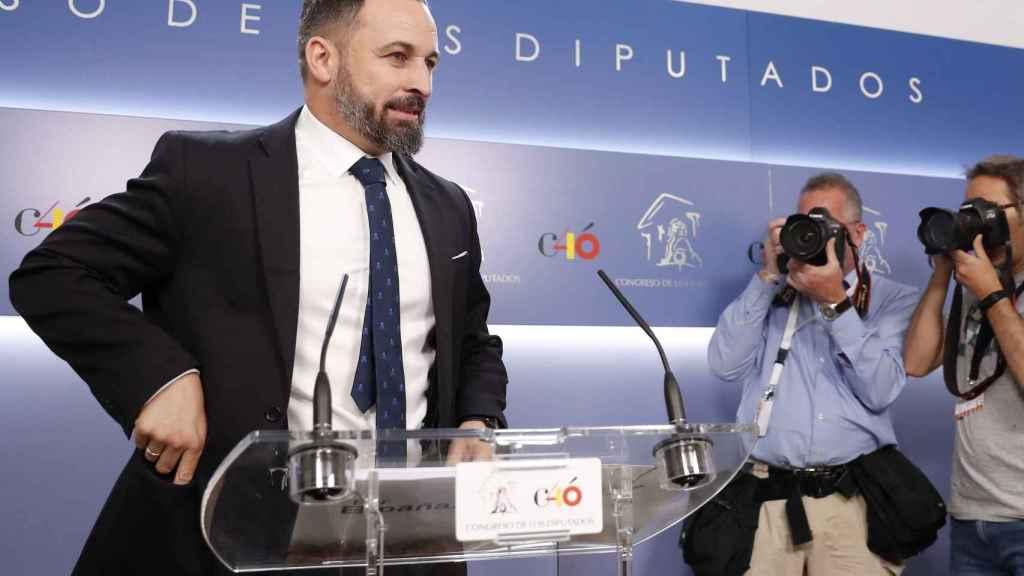 El líder de Vox, Santiago Abascal, este lunes.