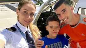 Ana López, José Antonio Reyes y su hijo en común en un montaje de Jaleos.