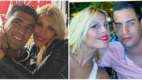 Noelia López junto a José Antonio Reyes y su hermano Antonio, en fotografías de sus redes sociales.