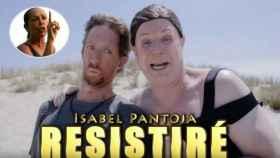 El vídeo de Los Morancos junto a una imagen de Pantoja en 'Supervivientes'.