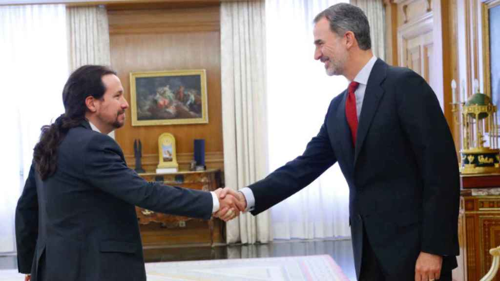 Pablo Iglesias, con el rey Felipe VI el pasado mes de octubre en la Zarzuela.