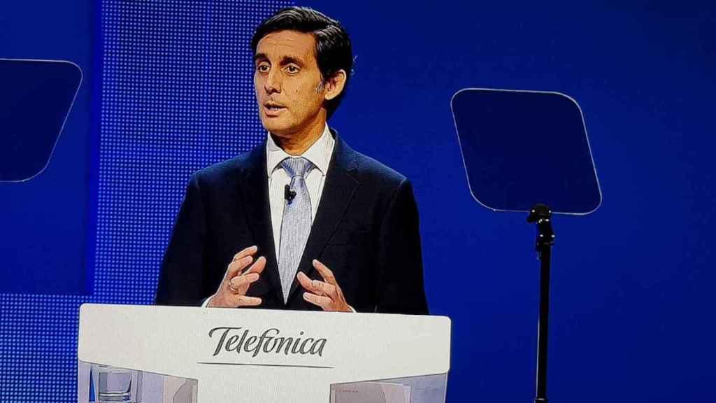 José María Álvarez Pallete, presidente de Telefónica, durante la Junta de Accionistas 2019.