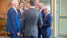 Sánchez, durante la minicumbre en Bruselas para el reparto del poder en la UE