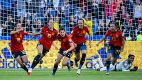 La selección española de fútbol femenino celebra el gol de Lucí García en el Mundial de Francia 2019