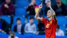 Jenni Hermoso celebra un gol con la selección española en el Mundial femenino de Francia 2019