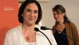 Ada Colau, durante la rueda de prensa ofrecida este sábado en Barcelona.