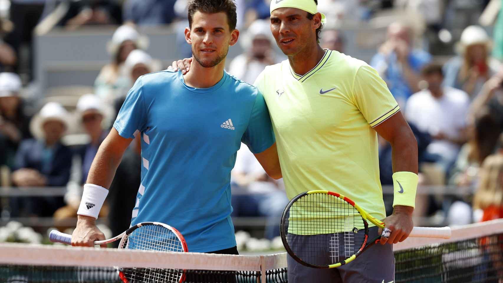Dominic Thiem y Rafael Nadal, antes de comenzar la final de Roland Garros 2019