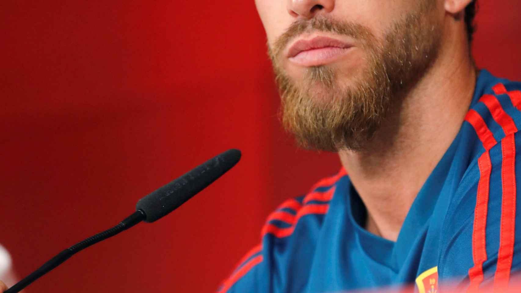 Sergio Ramos, en rueda de prensa con la selección española