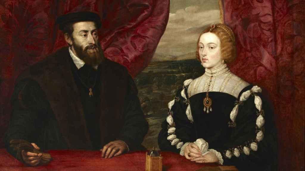 Retrato pintado por Rubens del emperador Carlos V y la emperatriz Isabel de Portugal.
