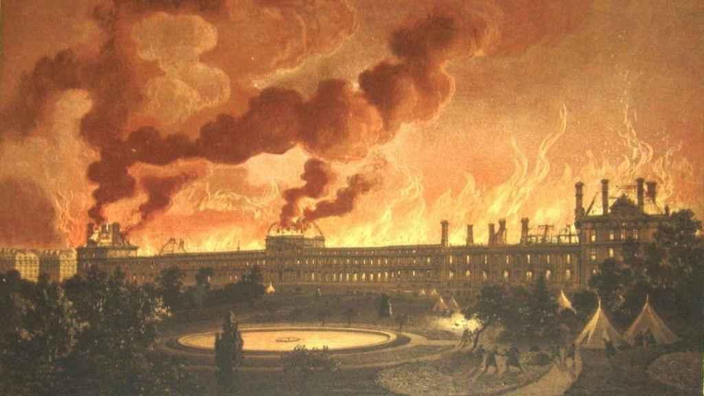 Litografía del incendio provocado por miembros de la Comuna en el Palacio de las Tullerías (1873).