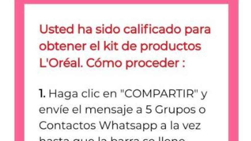 Página web falsa de L'Oreal