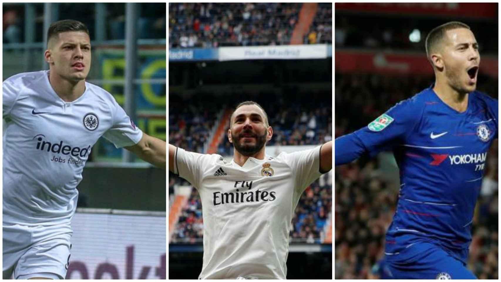 Luka Jovic, Karim Benzema y Eden Hazard.