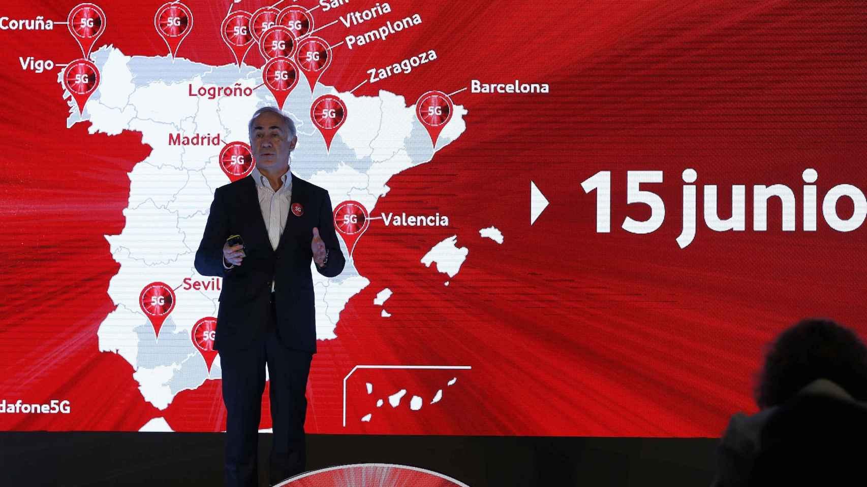 Antonio Coimbra, CEO de Vodafone, durante la presentación del 5G de la operadora este lunes en Madrid.