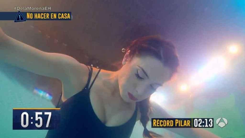 Pilar Rubio en la prueba de apnea