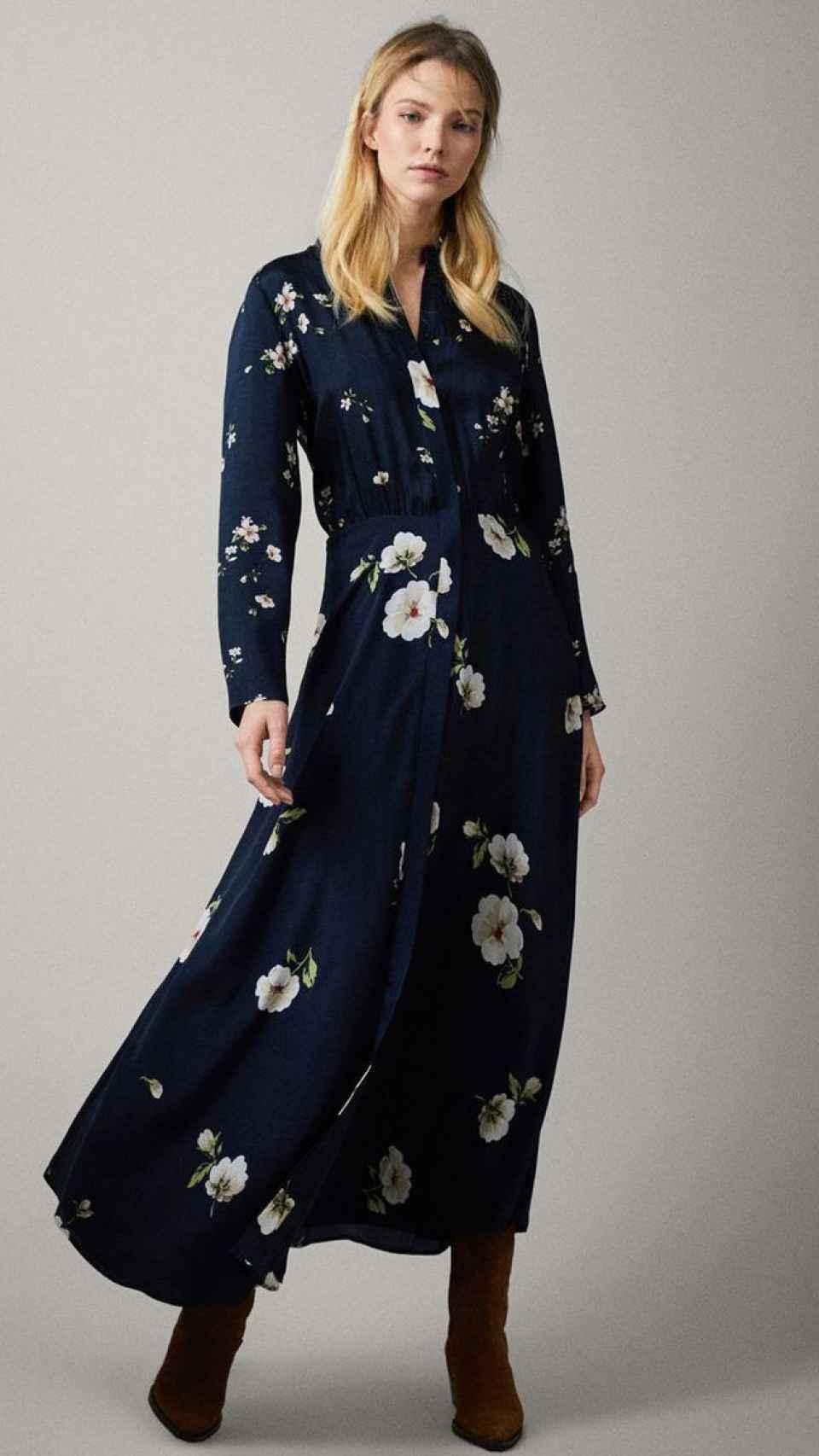 Detalle del vestido de Massimo Dutti que ha lucido la Reina.