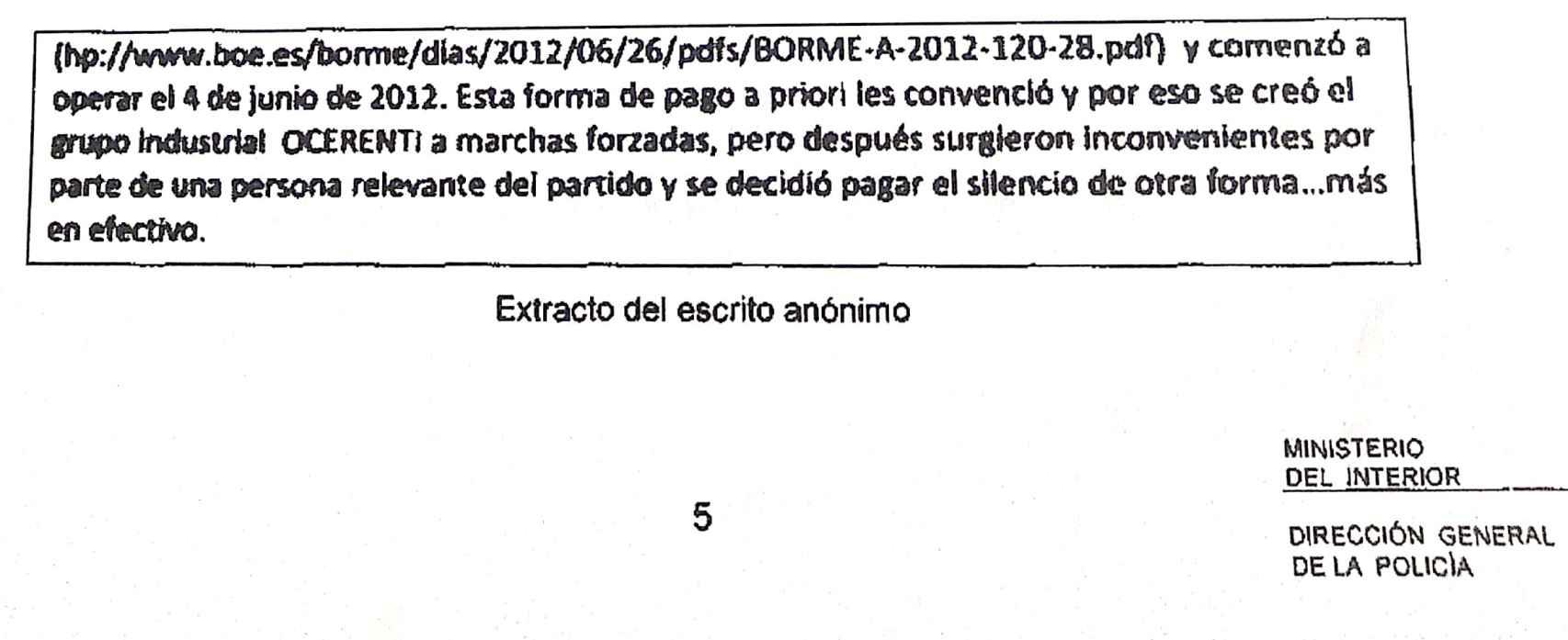 Extracto del manuscrito anónimo remitido al juez José De la Mata.