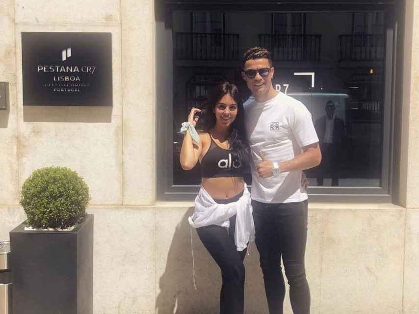 Cristiano Ronaldo y Georgina Rodríguez en el Hotel Pestana de Lisboa, propiedad del futbolista.