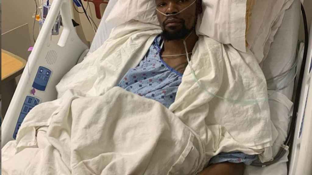 Kevin Durant tras su operación en el tendón de Aquiles. Foto: Instagram. (@easymoneysniper)