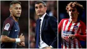 Neymar, Valverde y Griezmann.