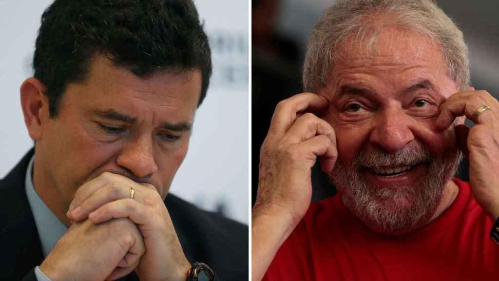 El ministro Sergio Moro y el expresidente Lula da Silva.