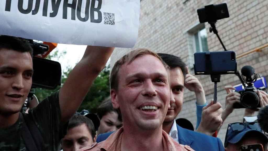 El periodista Ivan Golunov a su salida de la cárcel.