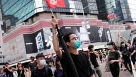 Un manifestante contra la ley de extradición en Hong Kong.