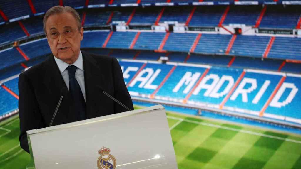 Florentino Pérez durante la presentación de Hazard