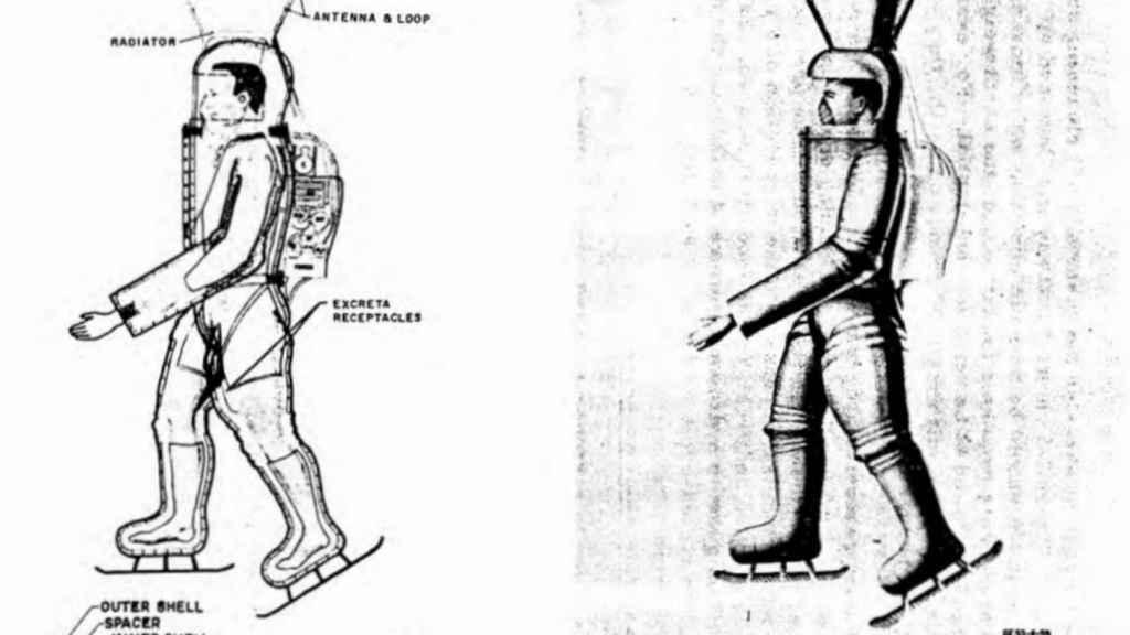 Por alguna razón, los responsables añadieron patines a los trajes de los astronautas.