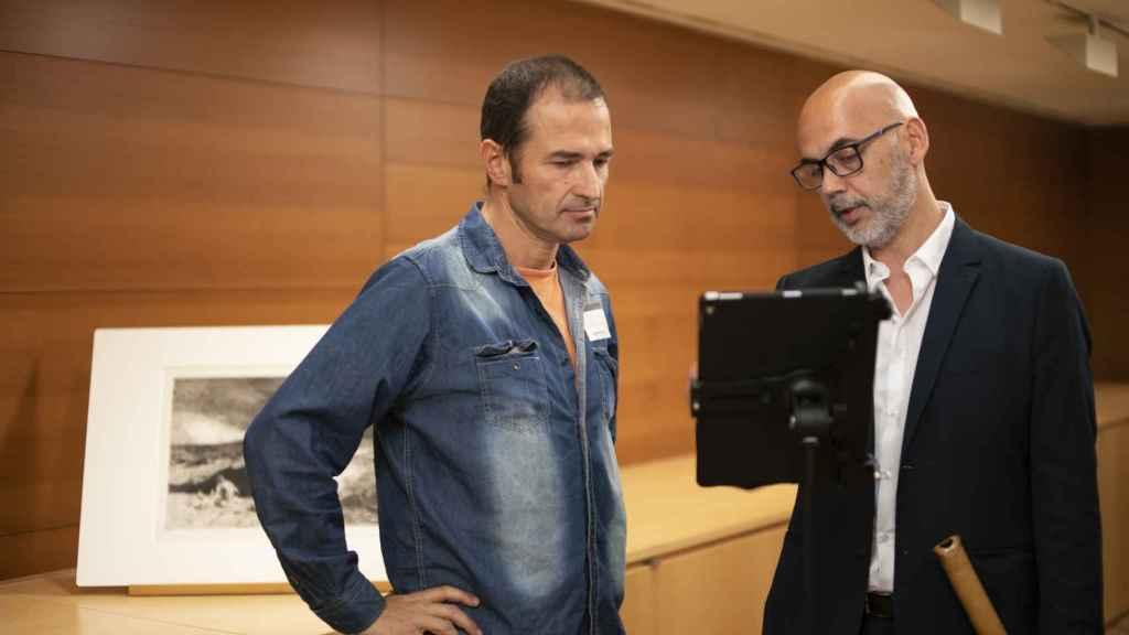 Horacio Curti, junto al compositor Ramon Humet en el Museo del Prado.