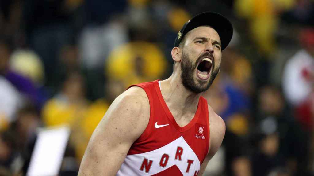 Marc Gasol celebra la victoria de Toronto Raptors en la final de la NBA