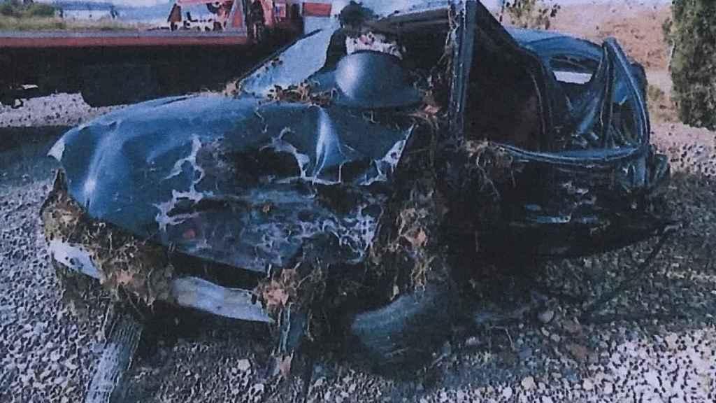 El coche de Marta, tras el siniestro.