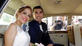 Noelia López y José Antonio Reyes el día de su boda en la localidad sevillana de Utrera.