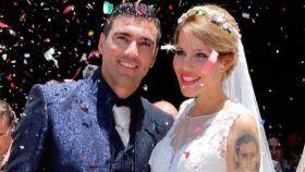 José Antonio Reyes y Noelia López el 17 de junio de 2017, día de su boda, en Utrera.