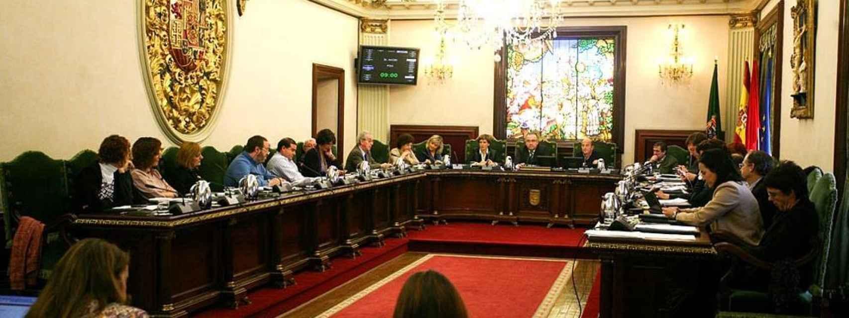 Sala de plenos del Ayuntamiento de Pamplona.