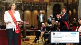 Manuel Valls aplaude cortésmente a Ada Colau, tras ser investida alcaldesa de Barcelona con sus votos.