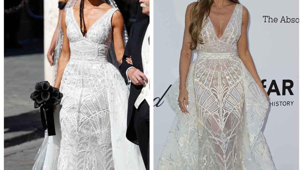 Pilar Rubio y Heidi Klum luciendo el mismo vestido, en un montaje de JALEOS.