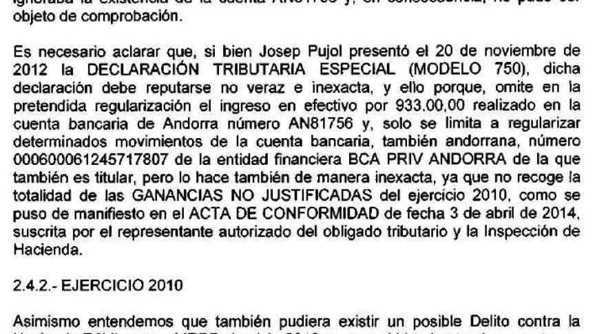 Parte del informe de la Agencia Tributaria al juez./