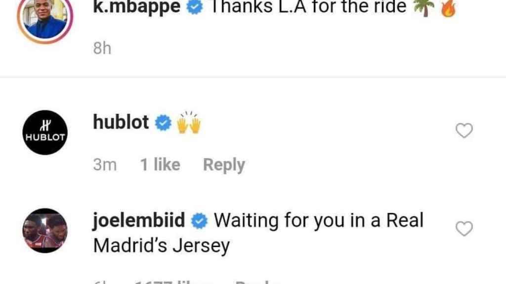 Comentario de Embiid en el Instagram de Mbappé