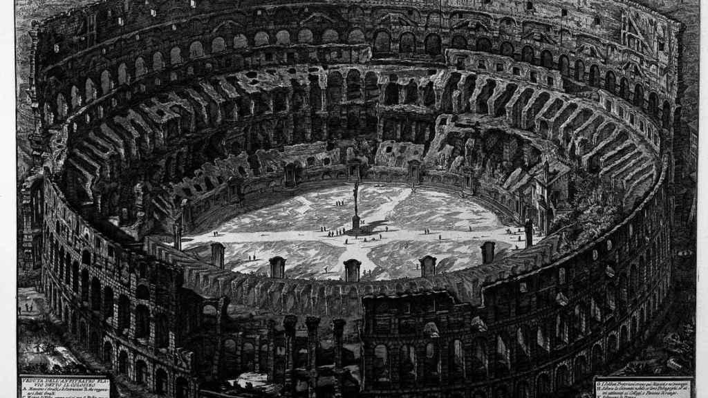 Grabado del Coliseo a mediados del siglo XVIII.