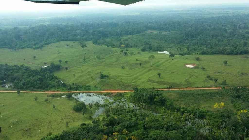 Lugar de la Amazonia con geoglifos en el terreno.