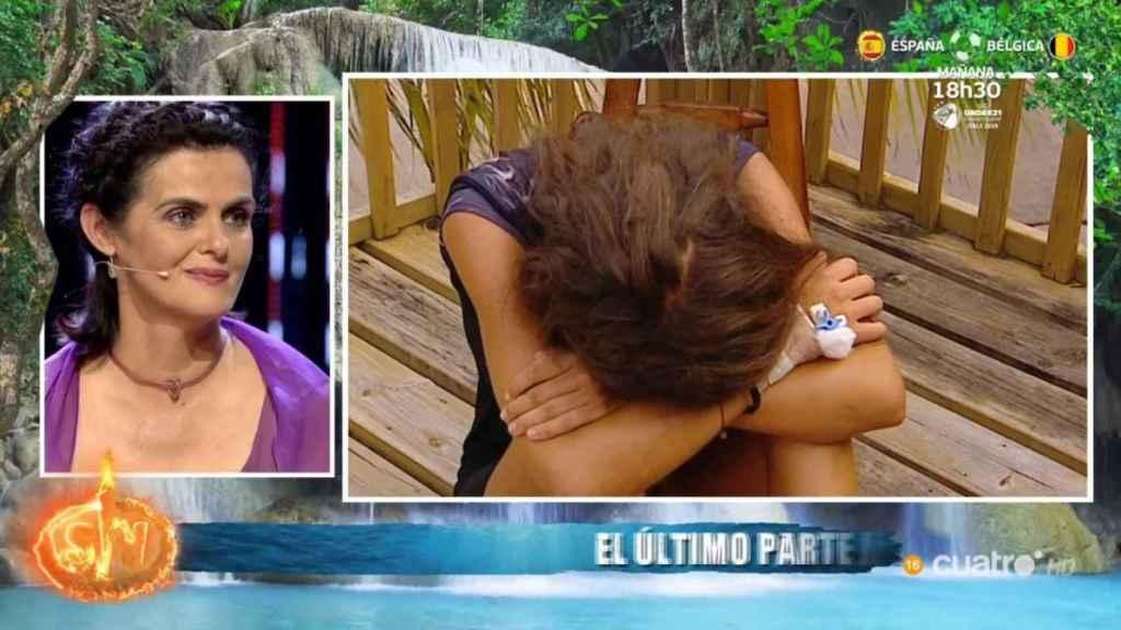 Violeta, tras ser informada de su abandono ante su madre en 'Supervivientes'.