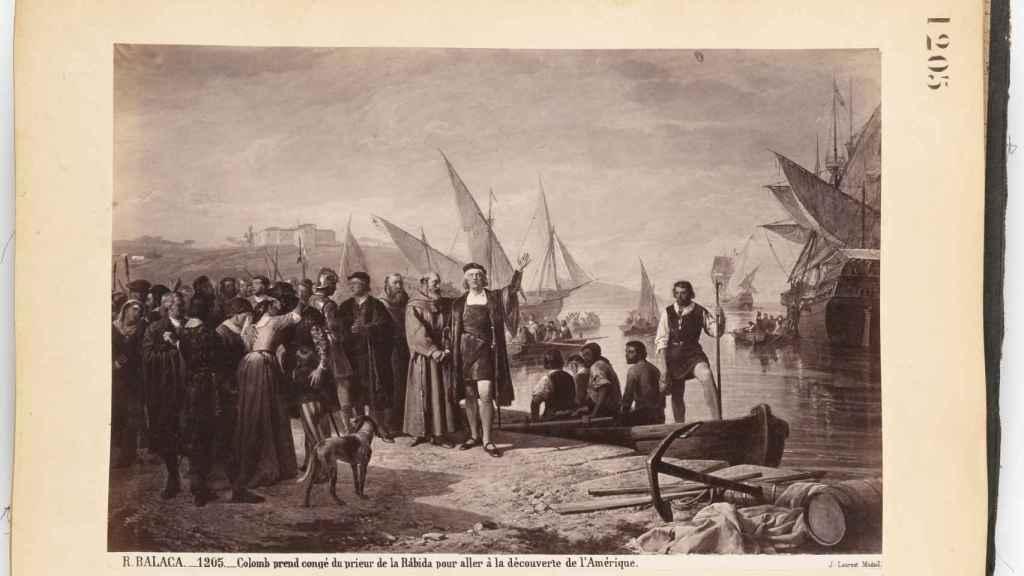 Cristóbal Colón pide permiso al príor de La Rábida para ir a descubrir América.