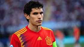 Jesús Vallejo, en un partido con la selección española sub21